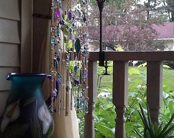 2/tier  purple/turquoise beaded Windchime.