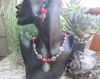 Tibetan Turquoise with Red Coral Necklace