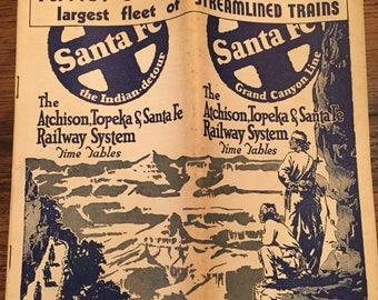 Antique Santa Fe Railway system timetable