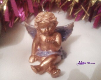 Hand painted purple and copper Angel
