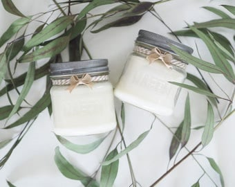 Campfire & Balsam + Cedar, Limited Edition Set, Two 8oz Mason Jar Candles, Hand Poured, All Natural Soy, Outdoor Scents