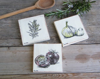 Food Art, Miniature Paintings, Set of 3, Rustic Kitchen Decor, Kitchen Wall Art, Country Chick, Farmhouse Decor, Hostess Gift