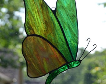 Stained glass butterfly suncatcher with green and brown wings 5 x 7