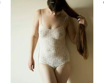 Vintage Mary Quant Cream Lace Bodysuit One Size Fits UK 8-12 Original Sealed Pack 1980s