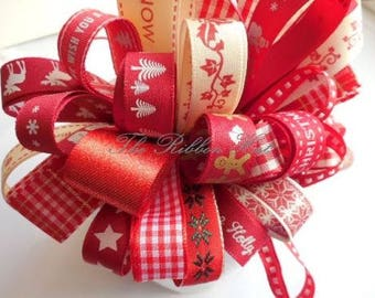 8 x 1 mtr Assorted Reds Christmas Bundle 7mm-25mm Widths