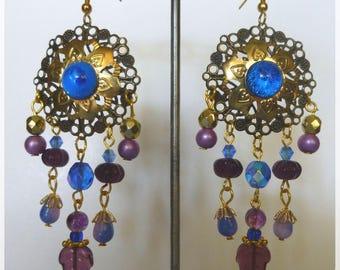 """Earrings Hippie Bohemian """"Woodstock"""" gilt metal, brass, Czech glass"""