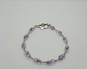 Silver & purple flower bracelet  (BR025)