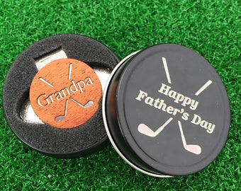 "Fathers Day ""Grandpa"" MAHOGANY Wood golf ball marker hat clip with OPTIONAL tin"
