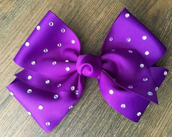 7 inch Solid Bling Bow, Solid Hair Bow, Bling Hair Bow