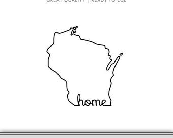 Wisconsin Home State Outline Graphic - Wisconsin Silhouette - Wisconsin SVG - Wisconsin Cut Files - Wisconsin Love - 7 Formats Ready to Use!