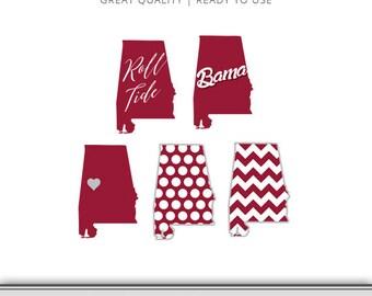 Alabama Graphic Pack - Roll Tide - Bama - University of Alabama - Digital Download - Alabama SVG - Roll Tide SVG Cut Files - 7 Formats!