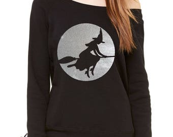 Halloween Witch On Broom (Glitter) Slouchy Off Shoulder Oversized Sweatshirt