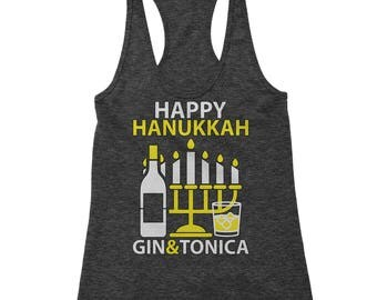 Happy Hanukkah Gin and Tonica Racerback Tank Top for Women