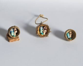 Miniature nativity created inside Acorn Shell