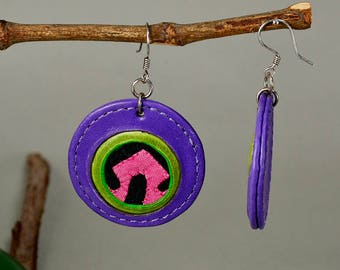 Circle drop earring, purple earring, leather jewelry, statement jewelry, big earrings, special jewelry, extraordinary jewelry, colorful drop