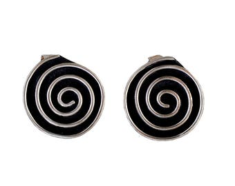 Silver spiral stud earrings, alpaca jewelry, chunky stud, solid earring, greek spiral jewel, Shell Stud, Nautilus earring, anniversary gift
