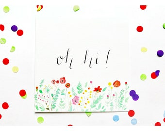 Oh hi greeting card, hello, typography, watercolour, floral