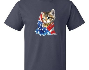 ON SALE - Kitty With American Flag Patriotic Men's T-shirt