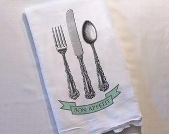 Tea Towel Bon Appetit Kitchen Towel Turquoise Mint Seafoam Silverware French Decor Dish Towel Decor Gifts for Her Flour Sack Hostess Gift