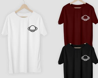 Planet Pocket T-Shirt Top Tee Alien UFO Space Saturn Logo Spaceship Tshirt Shirt