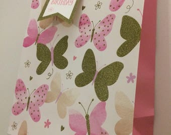 Butterfly gift bag option with Happy Birthday gift tag