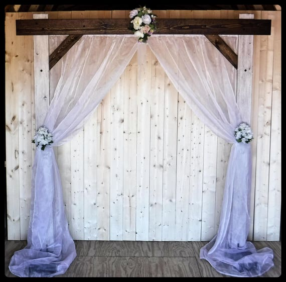 Wedding Arch And Fabric Backdrop/Wedding Arbor For Indoors/Country Wedding Decor/Dark Walnut & Weathered Ivory/Shipping Included