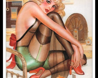 Martin Hoffman Illustration Playboy Vintage Pinup Girl July 1997 Pinup Wall Art Deco Print