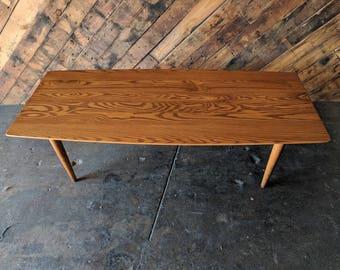 Mid Century Danish Modern Solid Oak Coffee Table