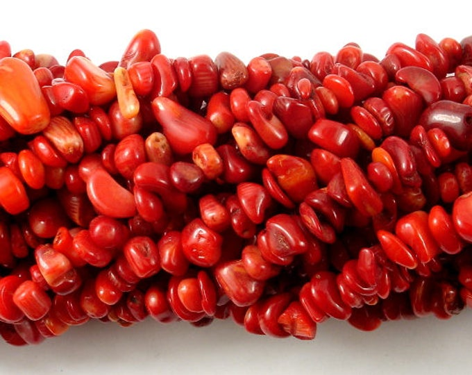 Red Bamboo Coral, 4mm -9 mm Chips Beads, 33 Inch, Long full strand, Hole 0.8 mm (368005003)