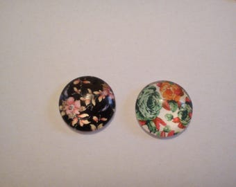 Lot 2 cabochons 13 mm flowers Black Green Pink
