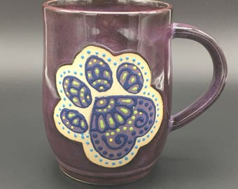 Paw mug, 14 oz, dog, cat, heeler, pet, mug, purple, pottery, handmade, wheel thrown, coffee, tea