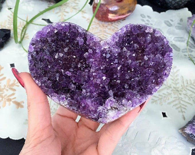 Amethyst Heart / Amethyst Cluster Geode Crystal Heart infused Reiki / Healing Crystals and Stones