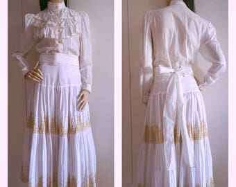 SALE 10% OFF Vintage 2 Piece Ruffled Skirt and Blouse with Wide Obi Style  Belt XS Petite