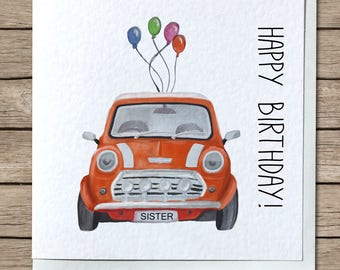 Classic Mini Birthday Greetings Card - Personalised / Customizable