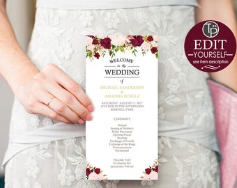 Wedding Program Template, Instant Download, Burgundy Wedding Program, Floral Wedding Program, Marsala Wedding Program, Editable, 0204