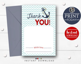 NAUTICAL THANK YOU Card, Instant Nautical Baby Shower Thank you Card, Thank you Card, Nautical Thank you Card, Instant Download Thank you