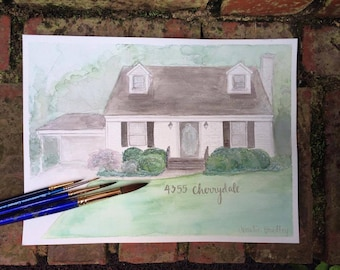 Home Watercolor Painting - Original Home Watercolor - Custom House Portrait Illustration - Wedding Gift First Home