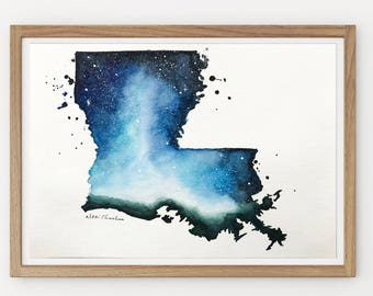 Louisiana State Map, Original Watercolor Painting, Illustration Print, Galaxy, US Travel Modern art Home Decor, Holiday Gift Double exposure