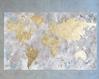 Gold leaf world map etsy large world map gold leaf painting world map wall art map of the gumiabroncs Gallery