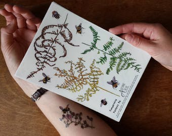 Temporary Tattoos by Alice Draws The Line;adorn yourself in botanical illustration;Bracken tattoo,Flower tattoo,Bee tattoo,Blackberry tattoo
