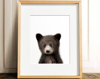 Bear print, Nursery art, Woodland animals, PRINTABLE art, Baby bear cub, Nursery decor, Animal art, Baby animals, Nursery wall art, Kids art
