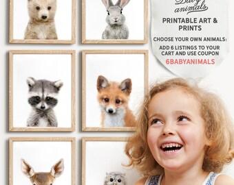 Nursery animals prints, PRINTABLE art, Woodland animals decor, Baby animals, Nursery art, Nursery decor, Minimalist, Woodland animal prints