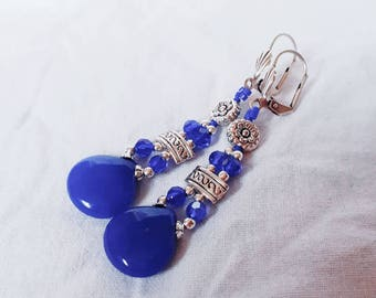 Silver and jade earrings cobalt blue.