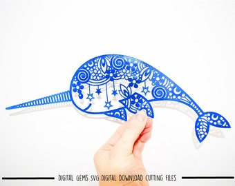 Zentangle Narwhal paper cut svg / dxf / eps / files and pdf / png printable templates for hand cutting. Download. Small commercial use ok.