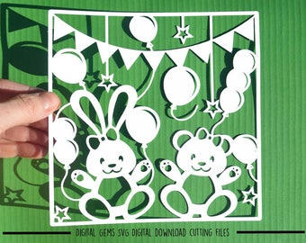 Rabbit and bear paper cut svg / dxf / eps / files and pdf / png printable templates for hand cutting. Digital download. Commercial use ok.
