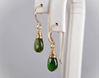 Chrome Diopside Earrings, Emerald Green Gemstone Jewelry, Dangle Drop Earrings, 14K Gold Filled, Rose Gold Filled, Sterling Silver, handmade