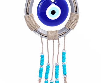 Horseshoe Wall Decor with Handmade Glass Turkish Evil Eye Bead for Home Protection