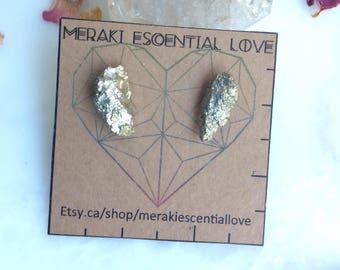 Large Pyrite Earrings. Raw Pyrite Earring Studs. Fools Gold Earrings. Boho jewelry.