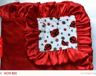Sale - Deal of the Day My little lady bug, Baby blanket, Toddler blanket, Minky Blanket, Handmade.