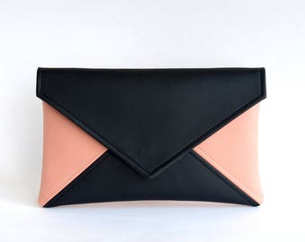 Black Pink Bridesmaid Clutch Wristlet Clutch Bag Gift for Her Vegan Leather Clutch Bag Evening Clutch Purse Wedding Clutch Vegan Bag Clutch
